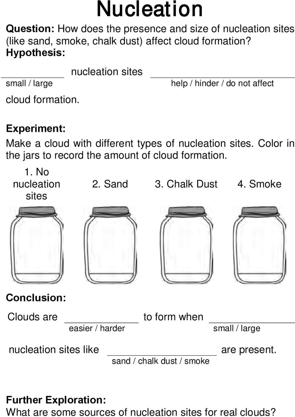 nucleation sites help / hinder / do not affect Experiment: Make a cloud with different types of nucleation sites.