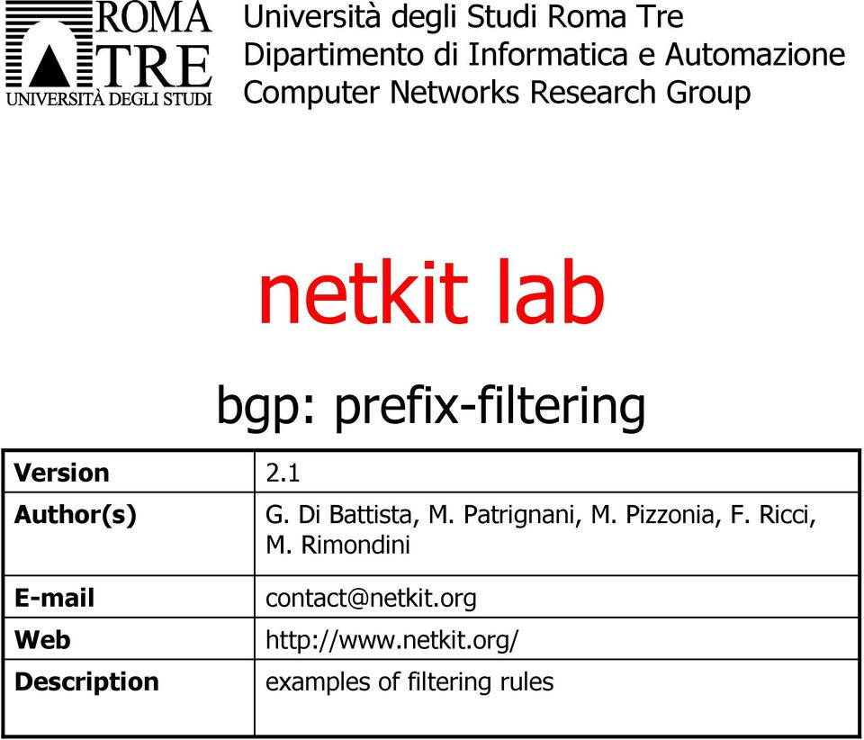 Author(s) E-mail Web Description 2.1 G. Di Battista, M. Patrignani, M.