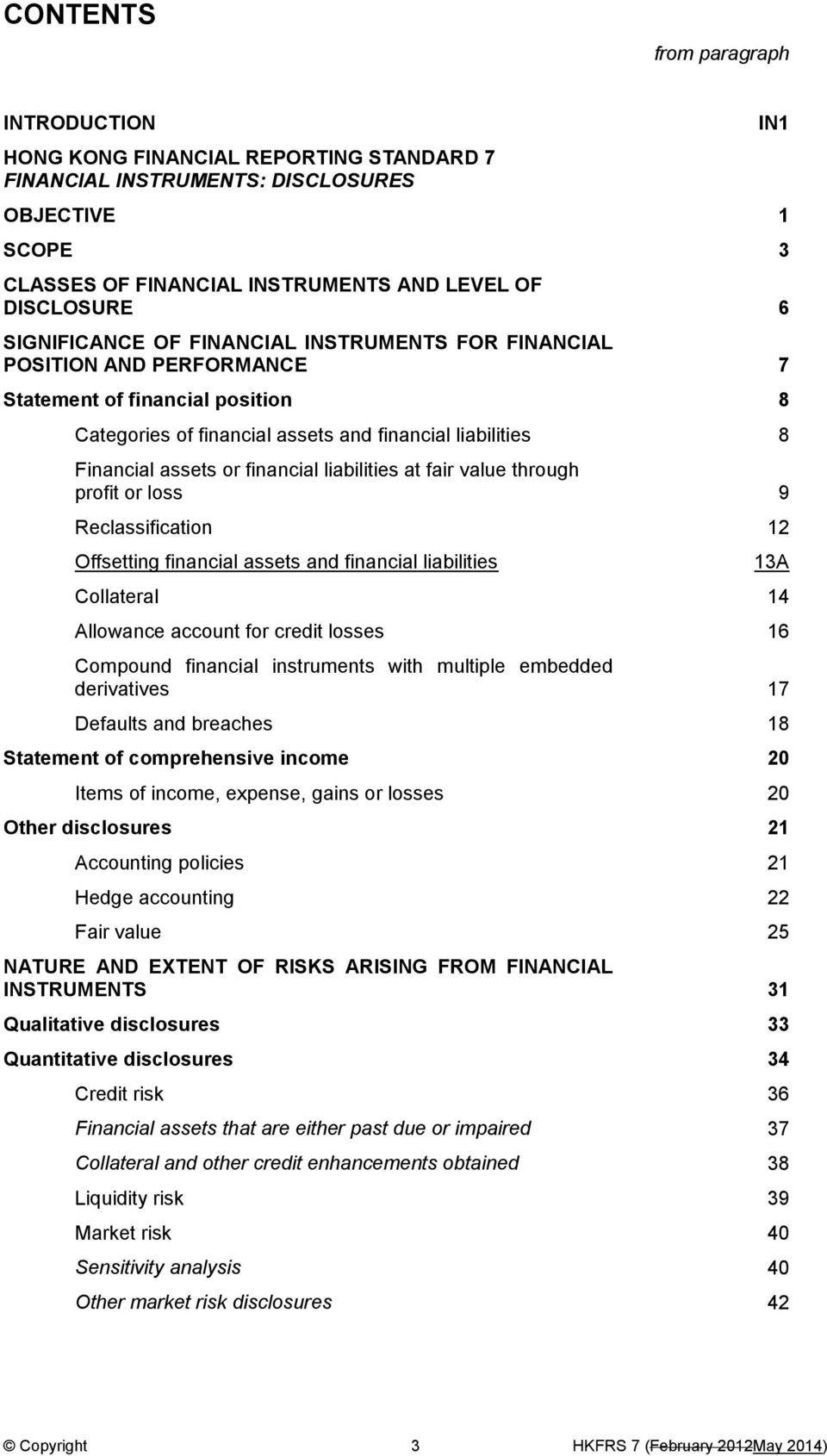 financial liabilities at fair value through profit or loss 9 Reclassification 12 Offsetting financial assets and financial liabilities Collateral 14 Allowance account for credit losses 16 Compound