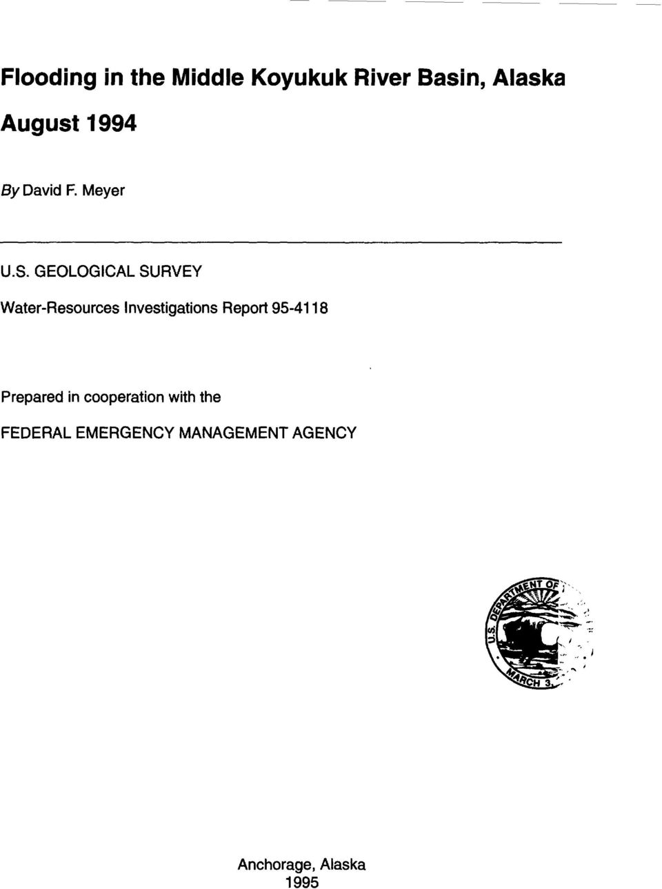 GEOLOGICAL SURVEY Water-Resources Investigations Report