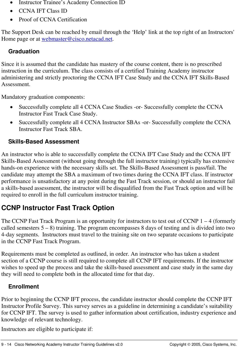 Cisco Networking Academy Instructor Training Guidelines Revised