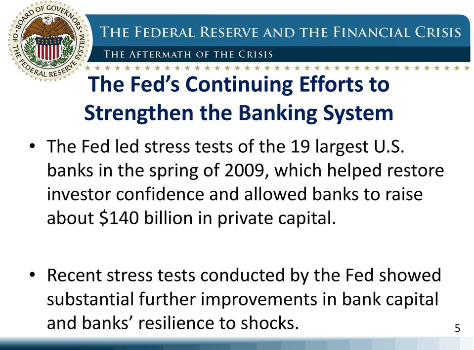 banks in the spring of 2009, which helped restore investor confidence and allowed banks to
