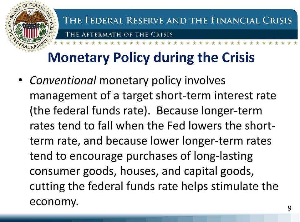 Because longer-term rates tend to fall when the Fed lowers the shortterm rate, and because lower