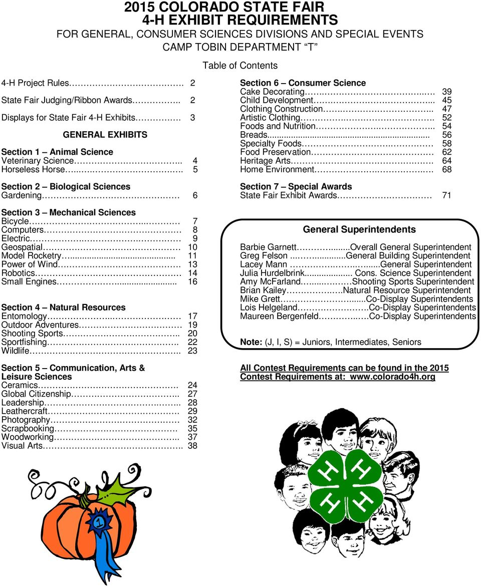 2015 Colorado State Fair 4 H Exhibit Requirements For