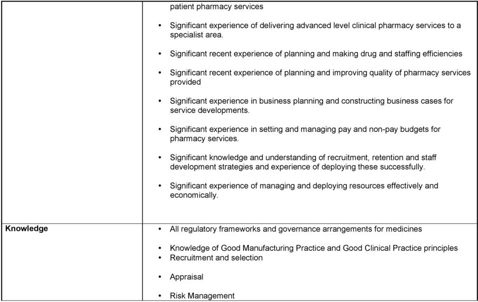 experience in business planning and constructing business cases for service developments. Significant experience in setting and managing pay and non-pay budgets for pharmacy services.