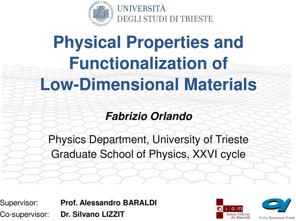 Physical Properties and Functionalization of Low-Dimensional