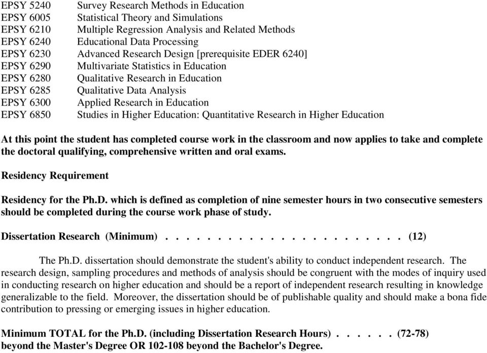 Research in Education EPSY 6850 Studies in Higher Education: Quantitative Research in Higher Education At this point the student has completed course work in the classroom and now applies to take and