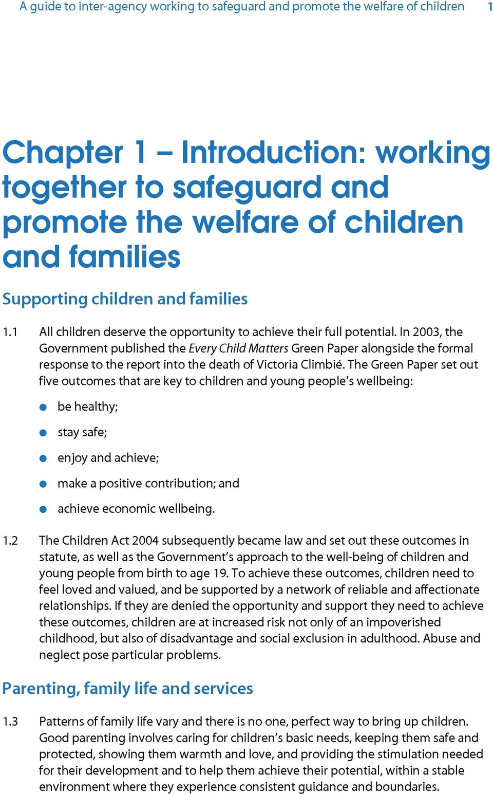 working together to safeguard children a guide to interagency working to safeguard and promote the welfare of children