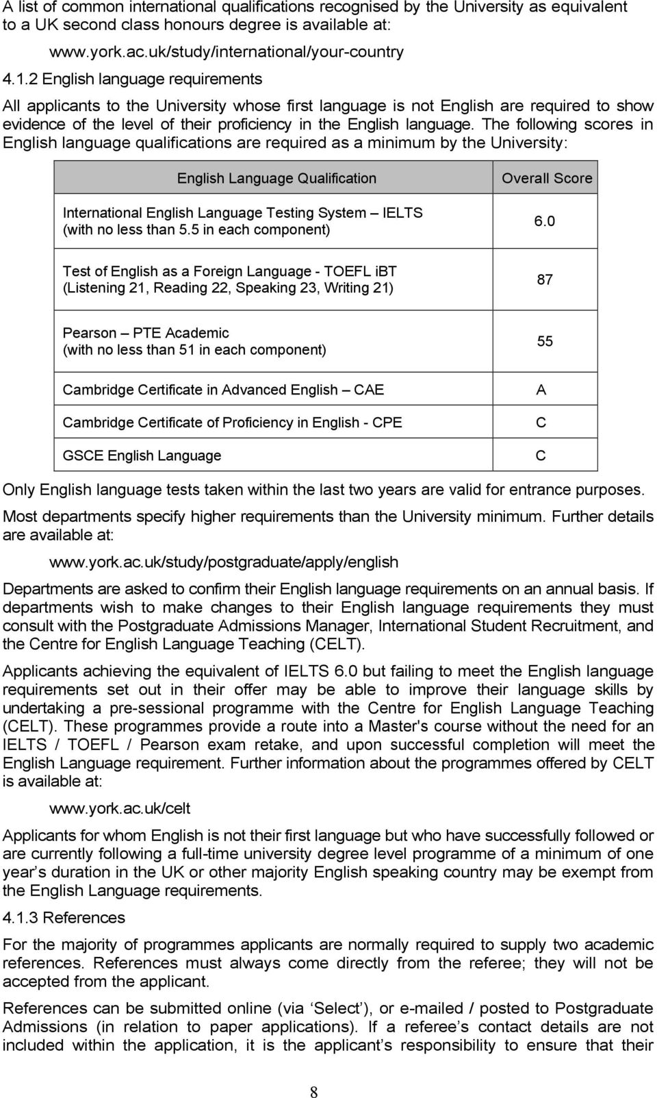 The following scores in English language qualifications are required as a minimum by the University: English Language Qualification International English Language Testing System IELTS (with no less