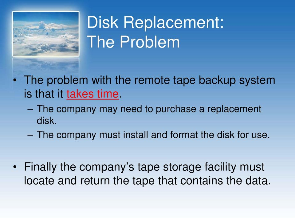 The company must install and format the disk for use.