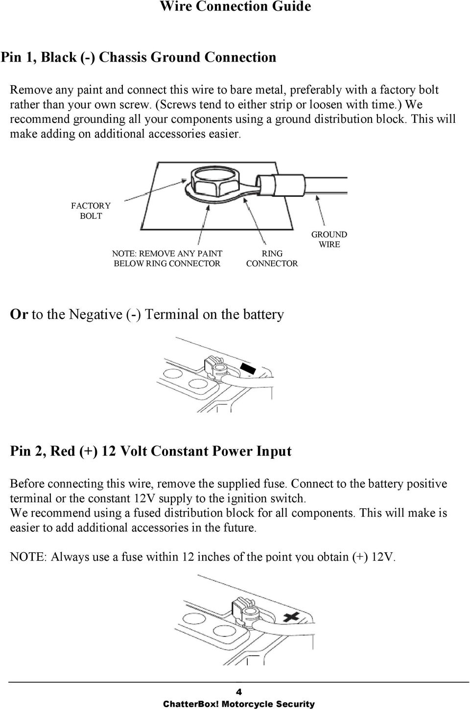 I Chatterbox Motorcycle Security Pdf 12 Volt Negative Ground Wiring Factory Bolt Note Remove Any Paint Below Ring Connector Wire Or To
