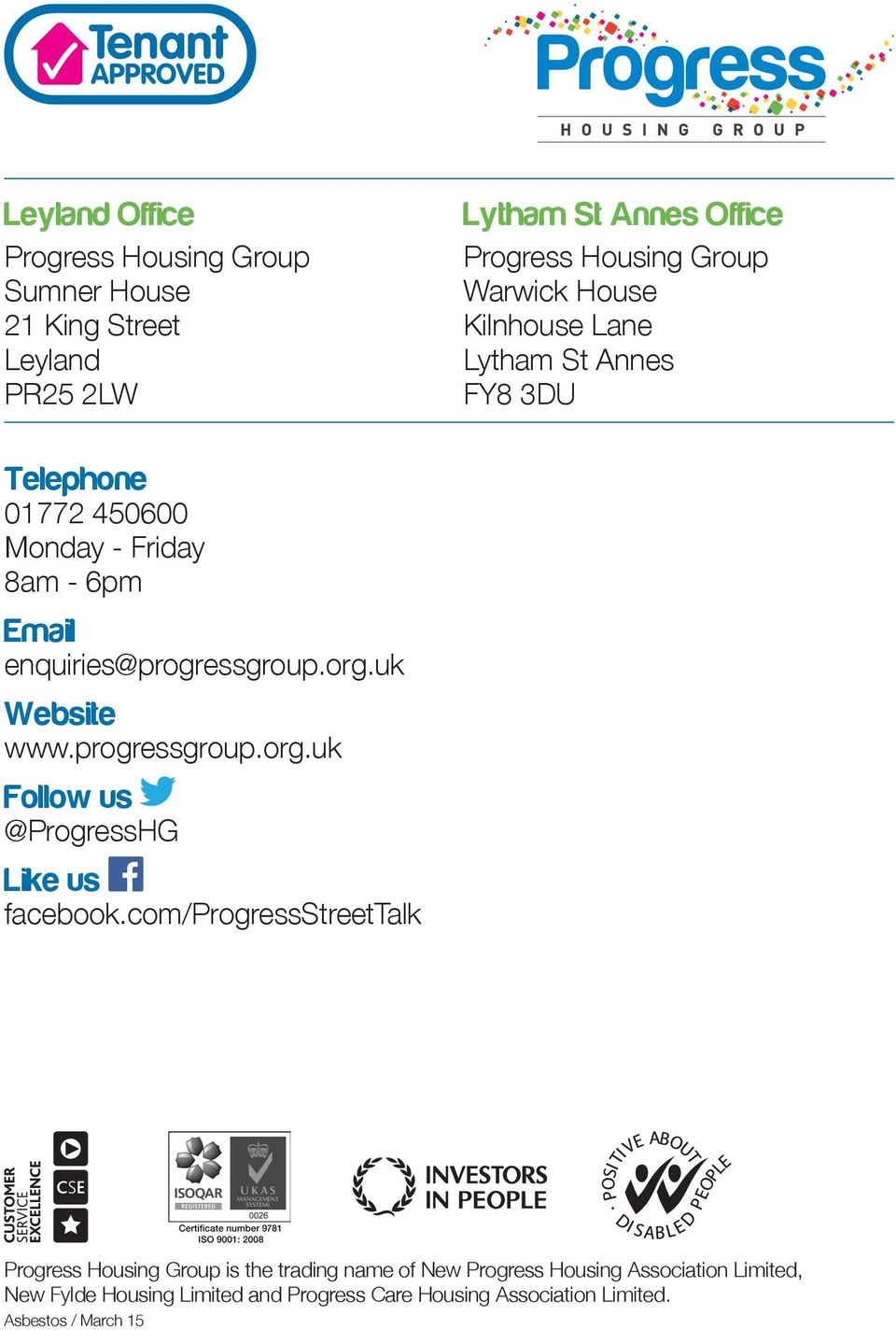 uk Website www.progressgroup.org.uk Follow us @ProgressHG Like us facebook.