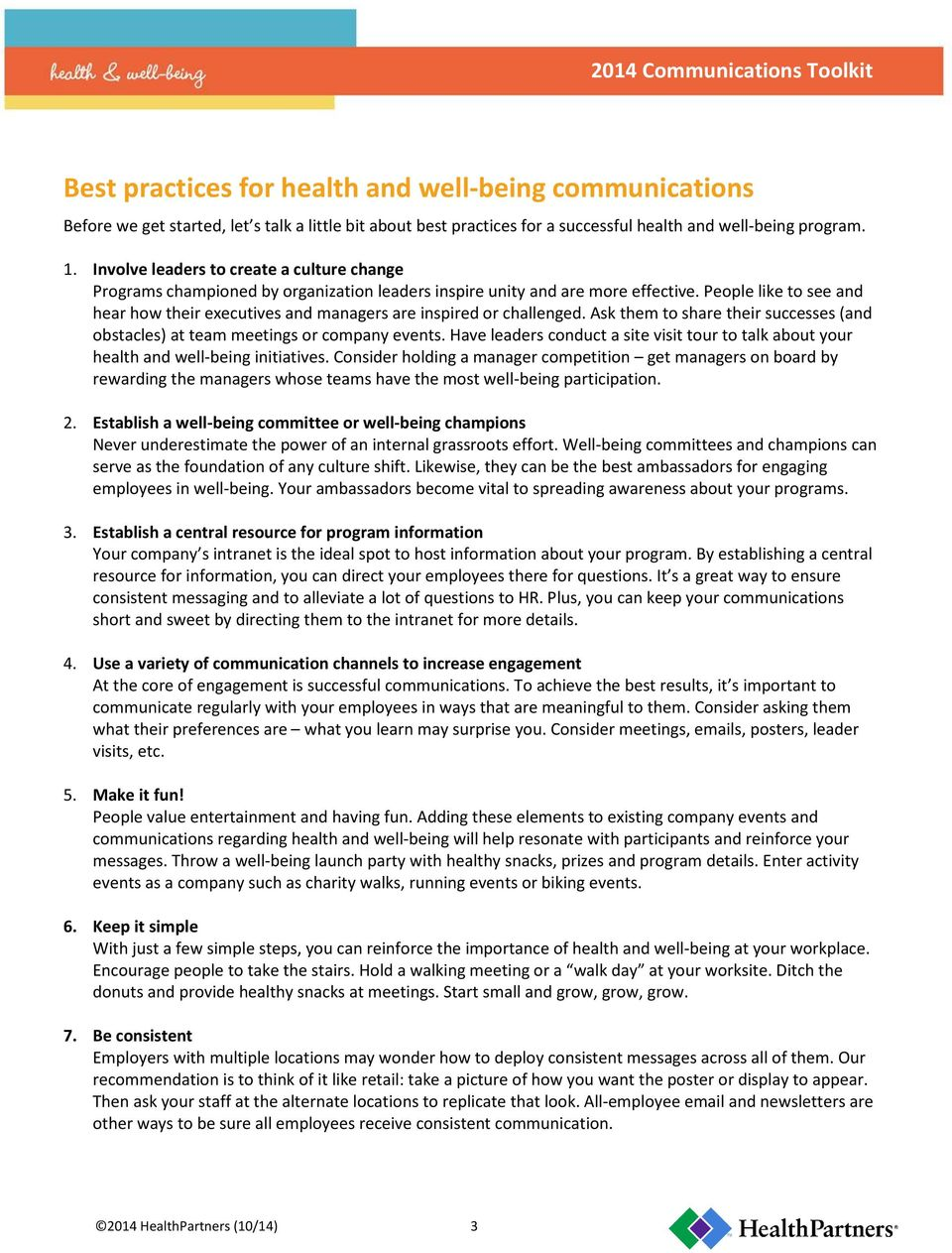 A best practices guide to health and well-being