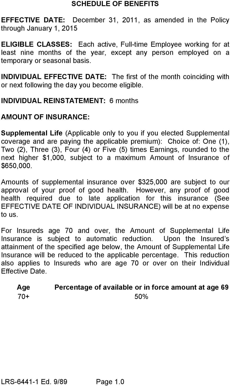INDIVIDUAL REINSTATEMENT: 6 months AMOUNT OF INSURANCE: Supplemental Life (Applicable only to you if you elected Supplemental coverage and are paying the applicable premium): Choice of: One (1), Two