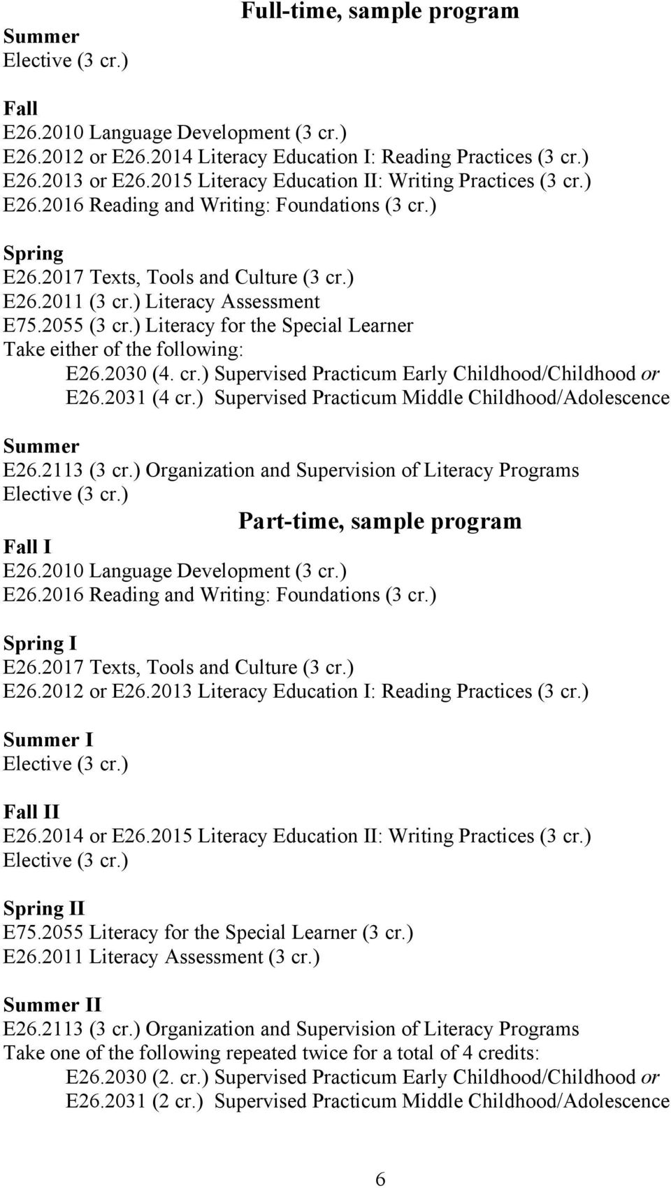 2055 (3 cr.) Literacy for the Special Learner Take either of the following: E26.2030 (4. cr.) Supervised Practicum Early Childhood/Childhood or E26.2031 (4 cr.