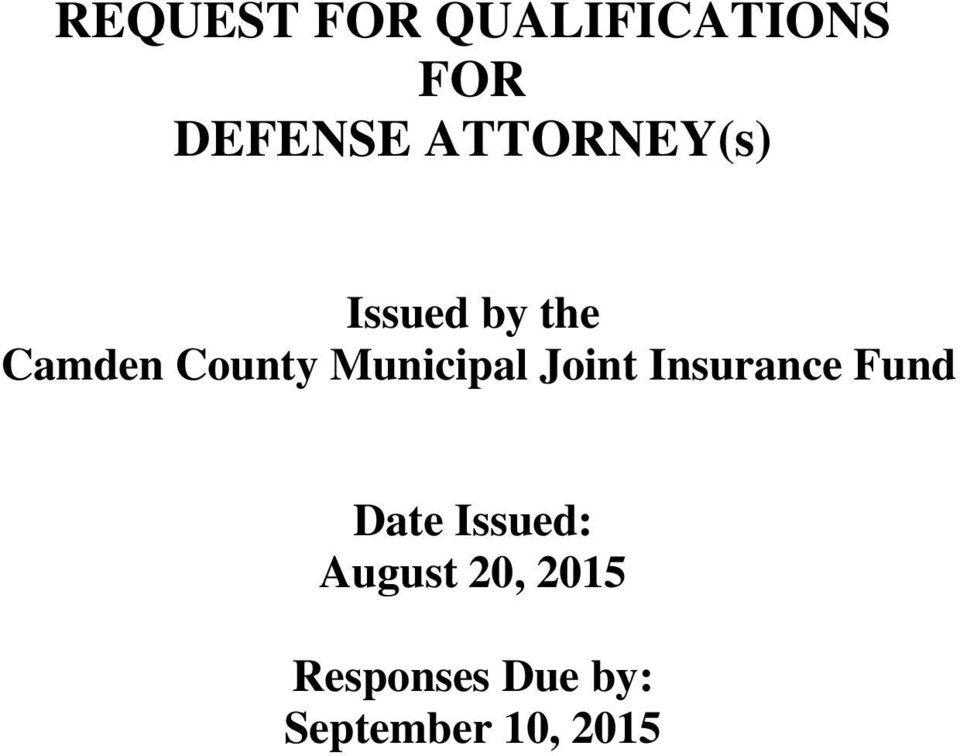 Municipal Joint Insurance Fund Date Issued: