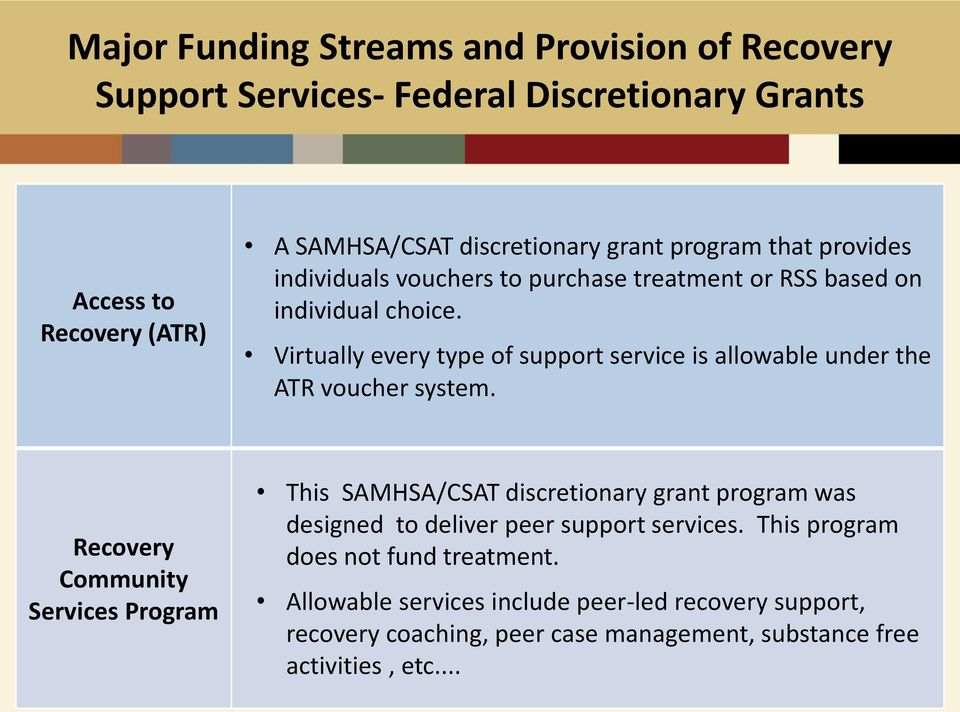 Virtually every type of support service is allowable under the ATR voucher system.