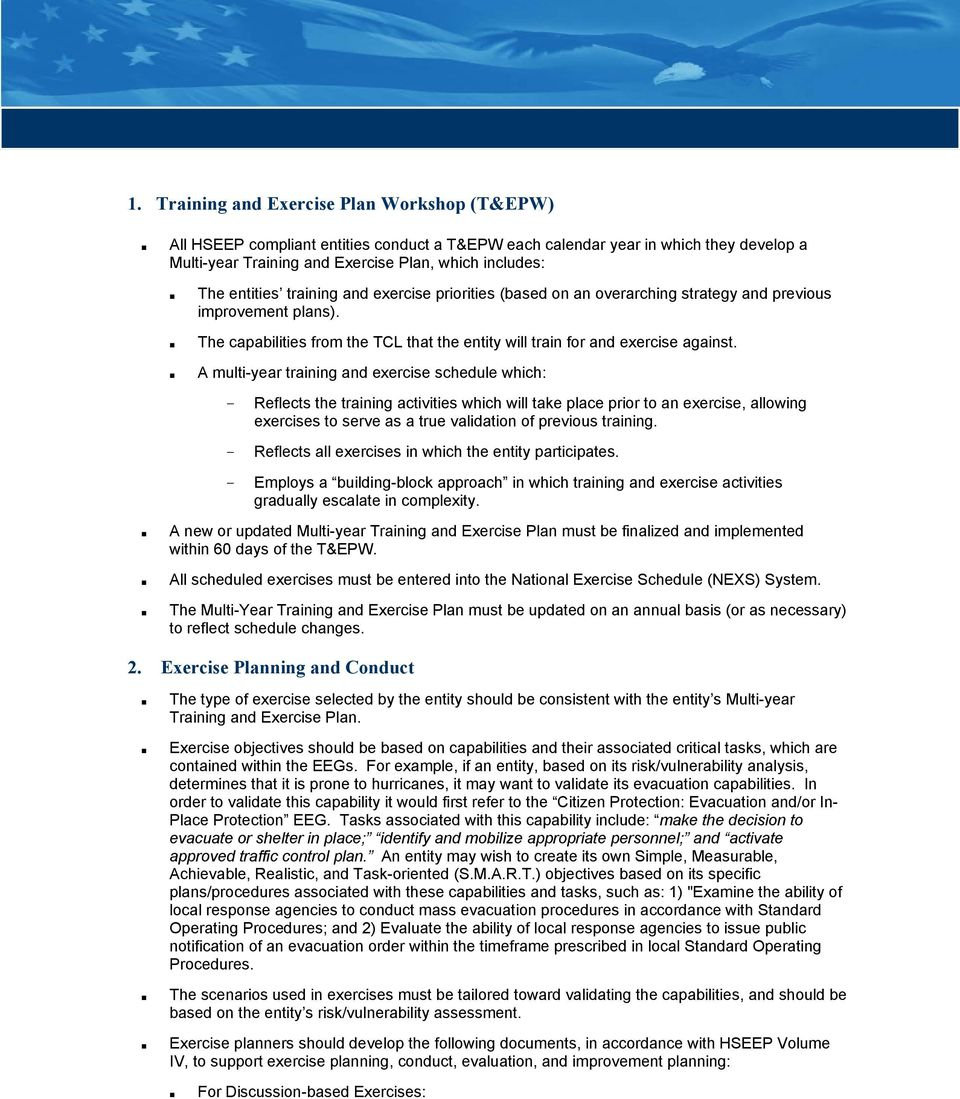 homeland security exercise and evaluation program terminology