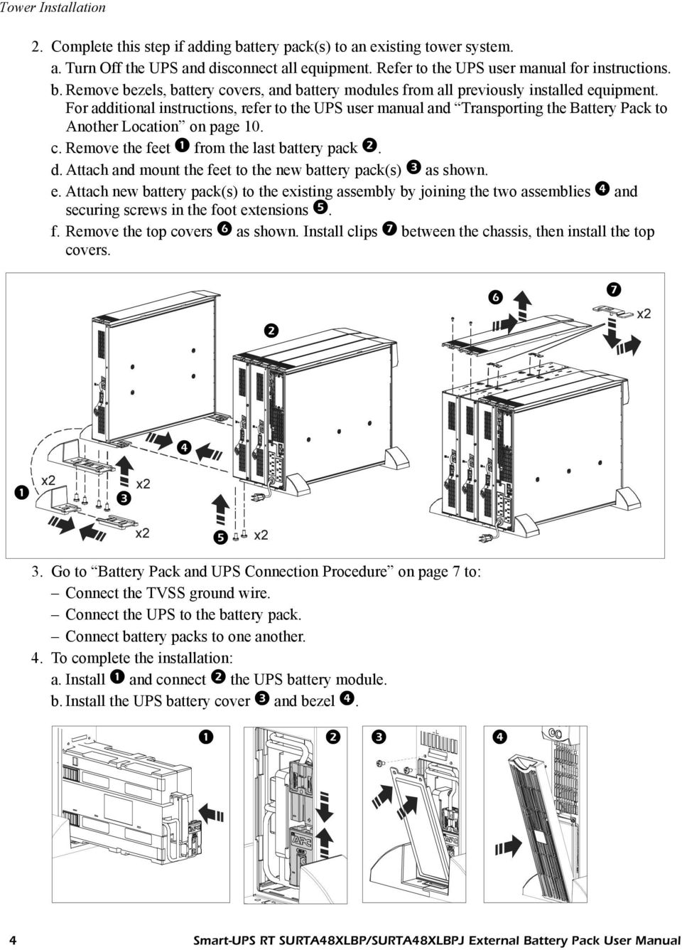 Apc Smart Ups Rt Surta48xlbp Surta48xlbpj External Battery Pack User Wiring Diagram In Line Attach And Mount The Feet To New Packs As Shown