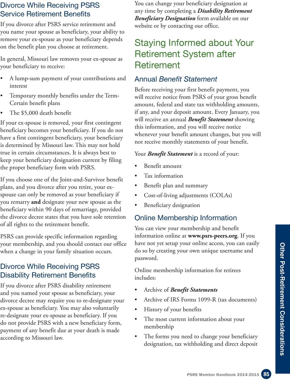 Other Post-Retirement Considerations - PDF