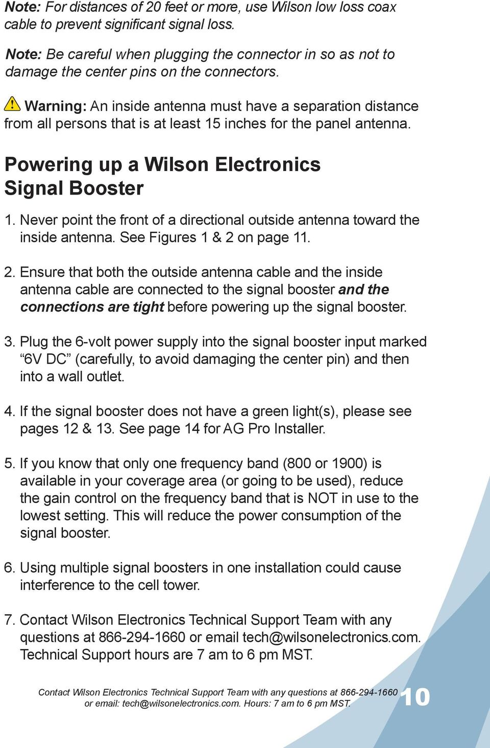 Guide Installation Wilson Electronics Inc Adjustable Gain Signal Accessories Fm 180 Warning An Inside Antenna Must Have A Separation Distance From All Persons That Is At