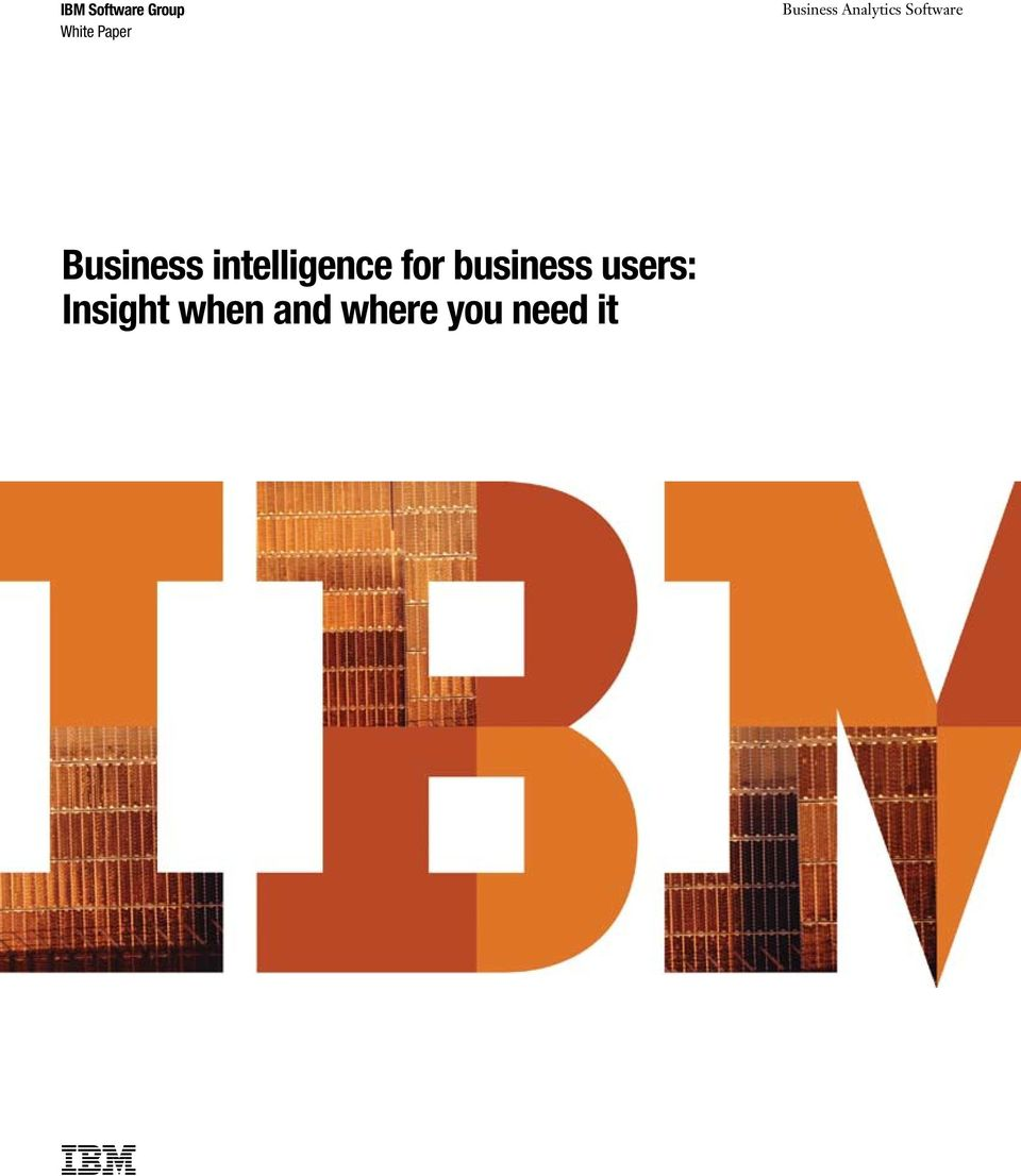 Business intelligence for