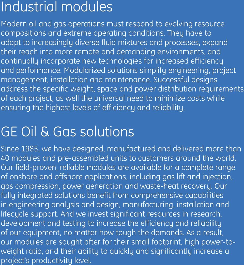 GE Oil & Gas  Industrial modules  Turnkey power-generation