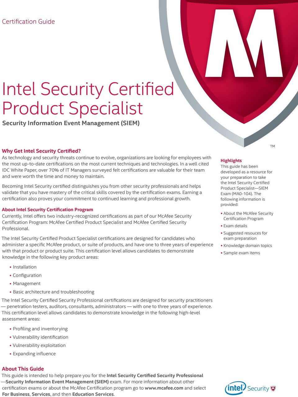 Intel Security Certified Product Specialist Security Information