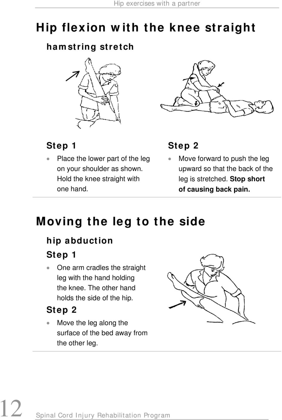 Stop short of causing back pain. Moving the leg to the side hip abduction One arm cradles the straight leg with the hand holding the knee.
