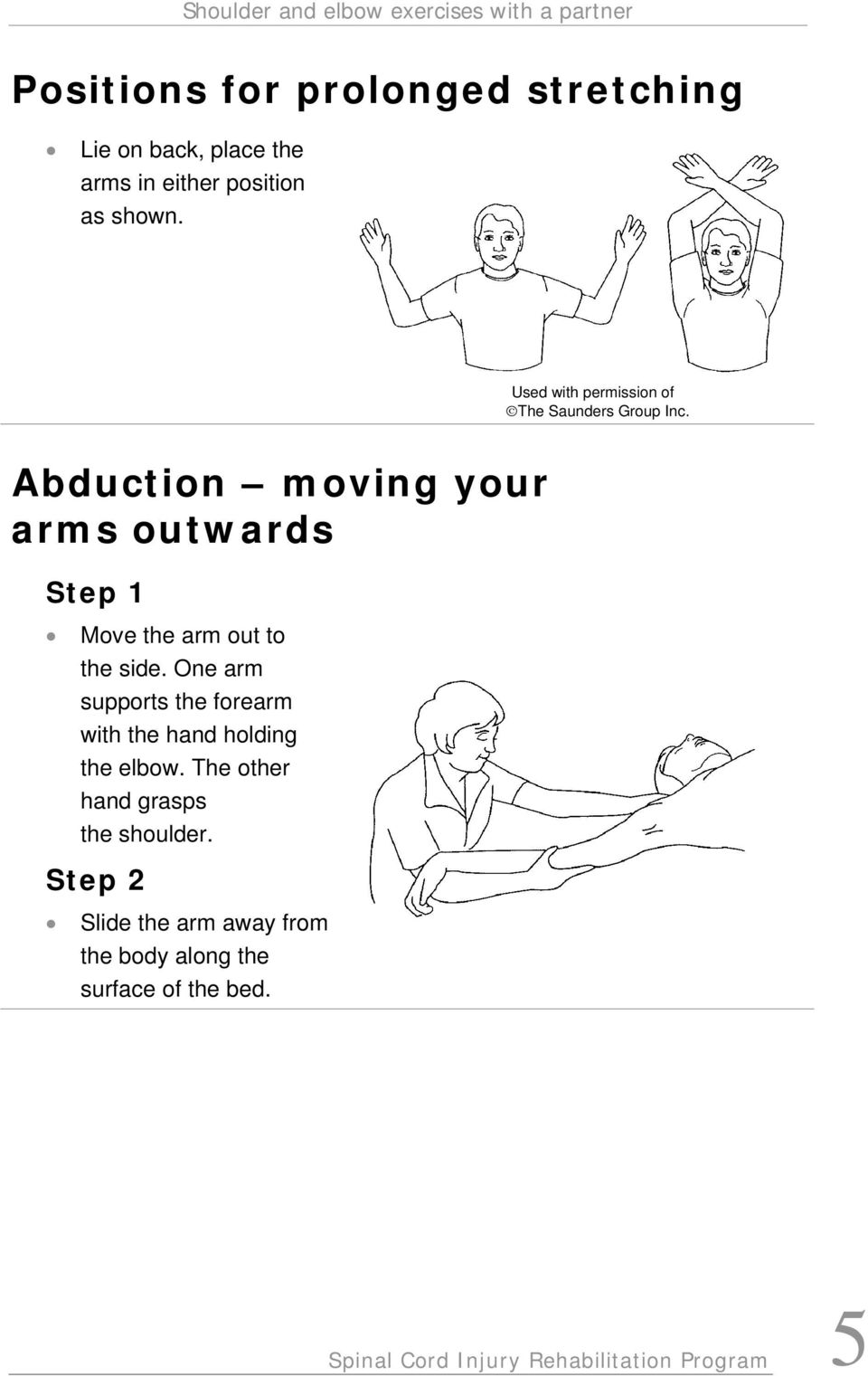 One arm supports the forearm with the hand holding the elbow. The other hand grasps the shoulder.