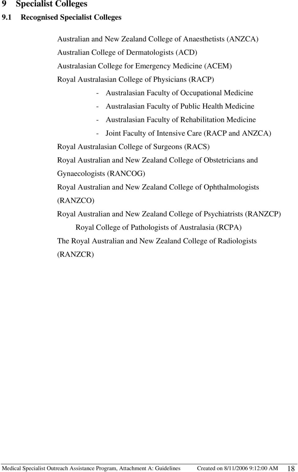 Australasian College of Physicians (RACP) - Australasian Faculty of Occupational Medicine - Australasian Faculty of Public Health Medicine - Australasian Faculty of Rehabilitation Medicine - Joint
