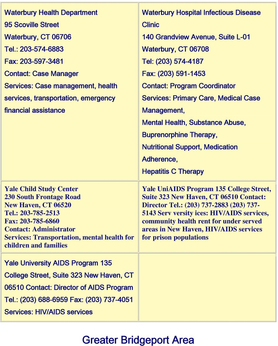 Hiv Aids Services In Connecticut By Area Greater New Haven Area Pdf
