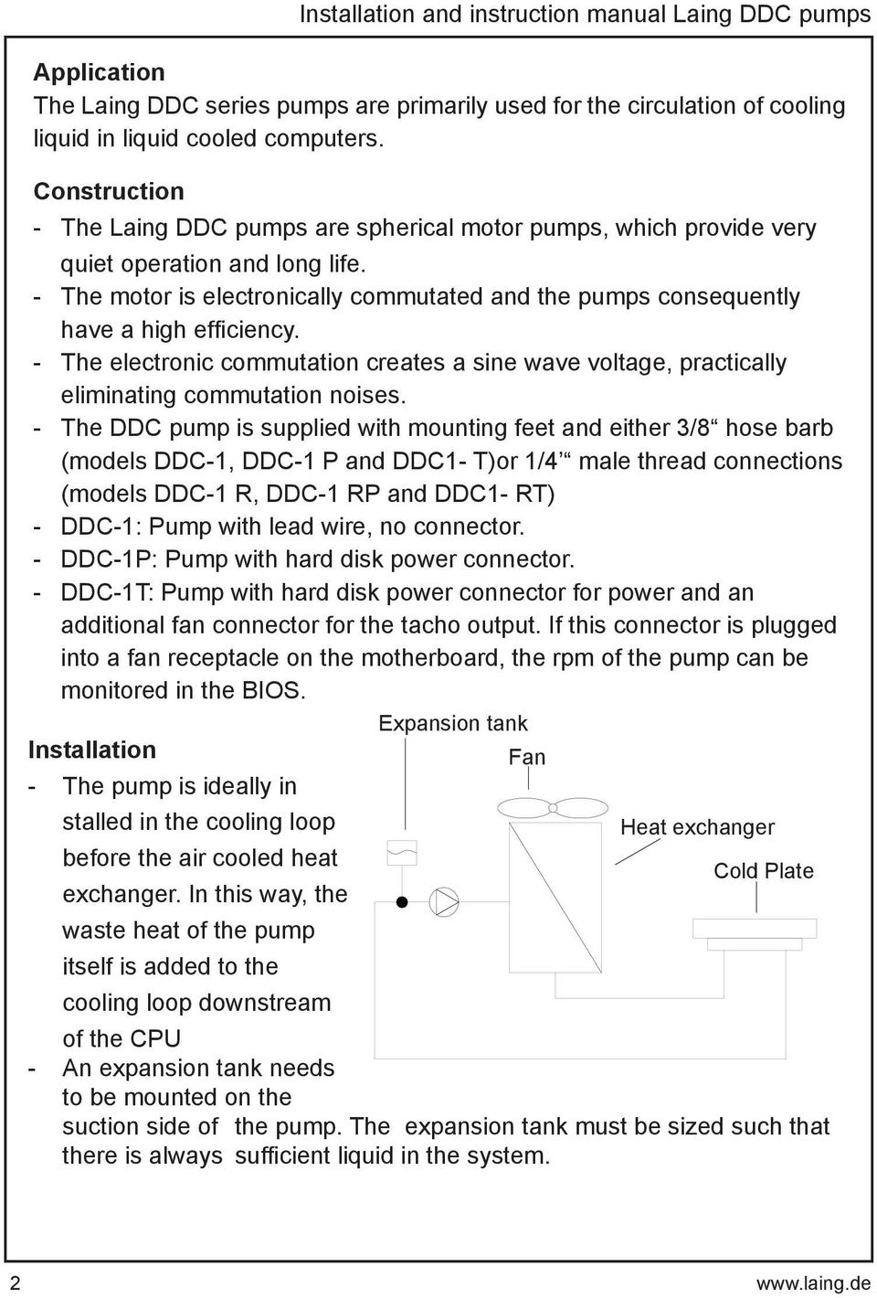 Installation And Instruction Manual For Laing Ddc Pumps Pdf Pump Wiring The Motor Is Electronically Commutated Consequently Have A High Efficiency
