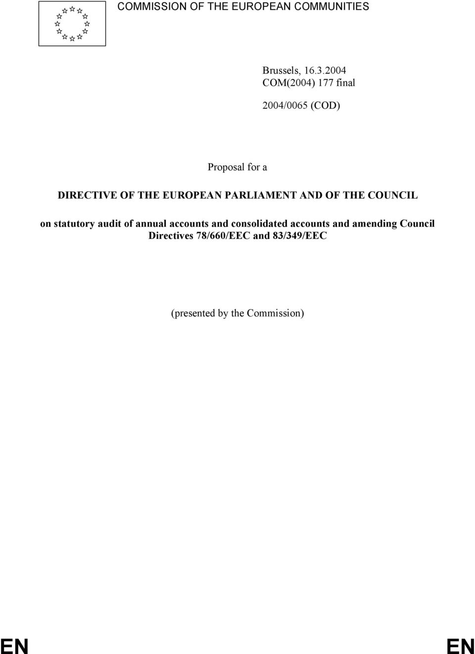 EUROPEAN PARLIAMENT AND OF THE COUNCIL on statutory audit of annual accounts and
