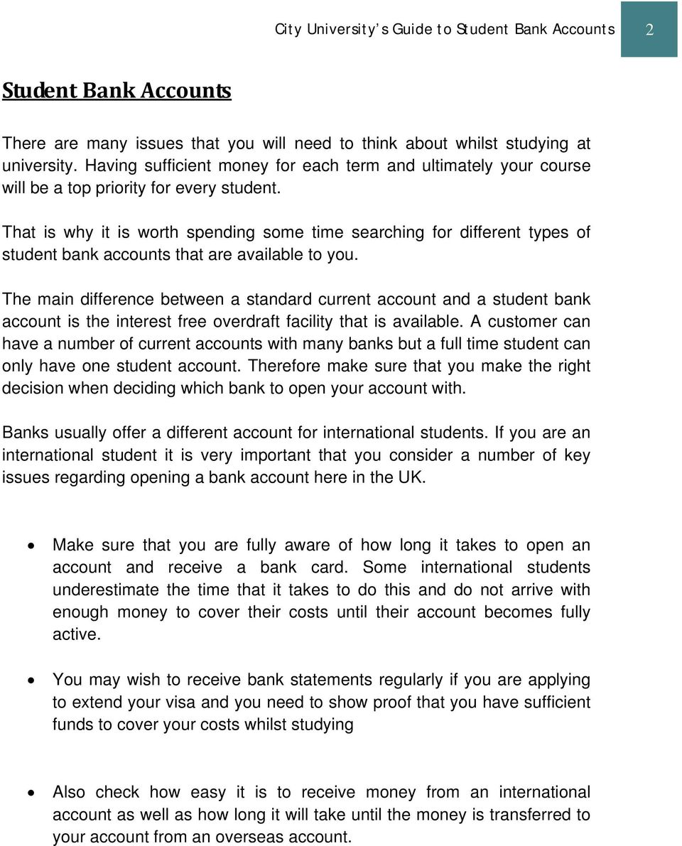 City University s Guide to Student Bank Accounts  Manage your Mon y