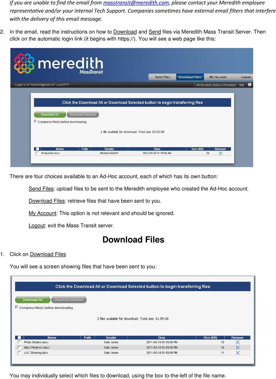 Meredith Mass Transit Web Client User Guide For Ad Hoc Accounts - PDF