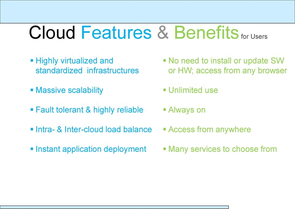 Inter-cloud load balance Instant application deployment No need to install or update