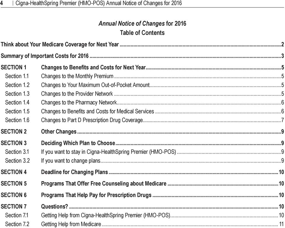 2 SECTION 4 SECTION 5 SECTION 6 Changes to Benefits and Costs for Next Year...5 Changes to the Monthly Premium...5 Changes to Your Maximum Out of Pocket Amount...5 Changes to the Provider Network.