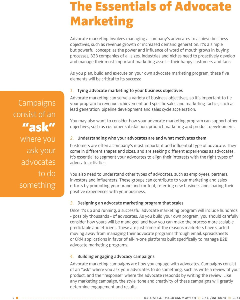Know It 2 Own It Advocating For Your >> Table Of Contents Why Advocate Marketing 3 The Advocate Marketing