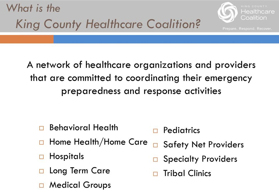 Assessing Partnerships King County Healthcare Coalition Pdf