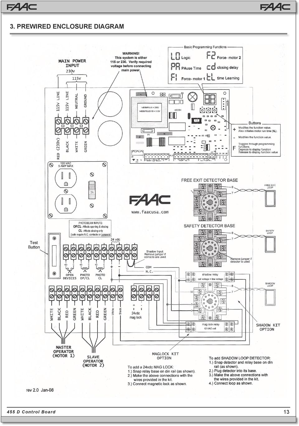 455 D Control Board. FAAC International Inc. West Coast ... Faac D Photo Eye Wiring Diagram on