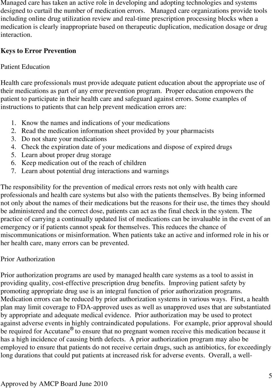 The Academy of Managed Care Pharmacy s Concepts in Managed