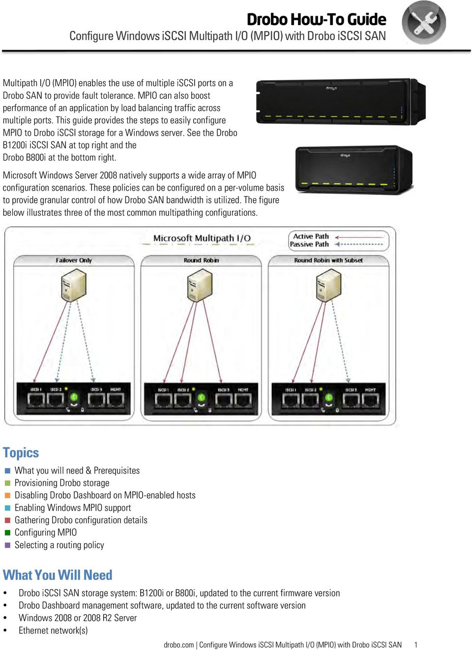 See the Drobo B1200i iscsi SAN at top right and the Drobo B800i at the bottom right. Microsoft Windows Server 2008 natively supports a wide array of MPIO configuration scenarios.