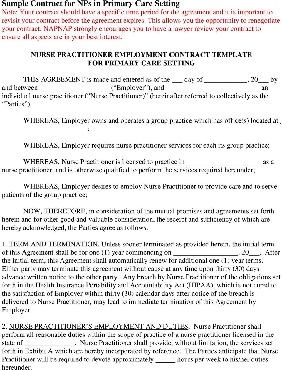 nurse practitioner employment contract template for primary care setting this agreement is made and entered as