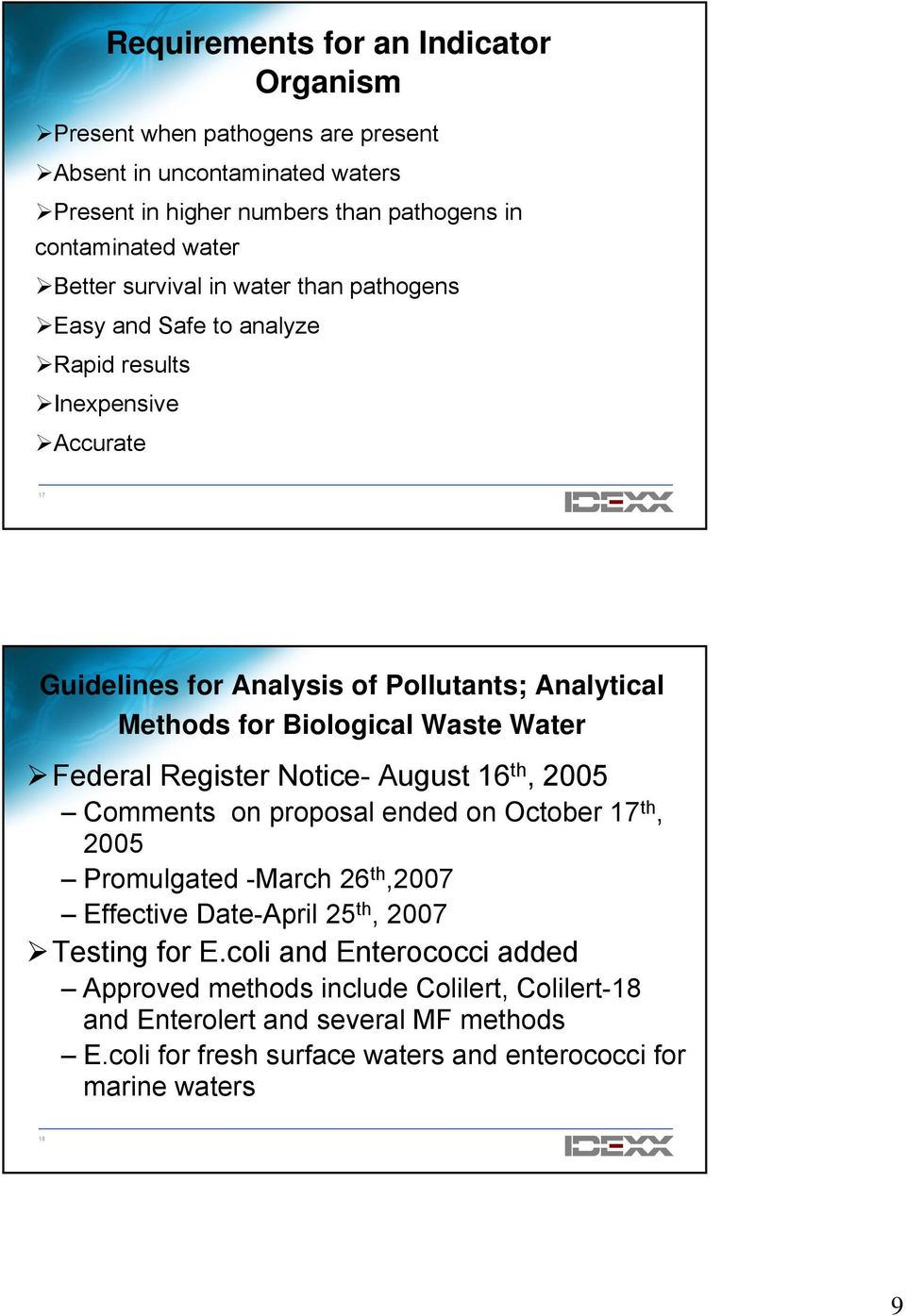 Testing Waste Water for Fecal Coliforms and/or E coli using