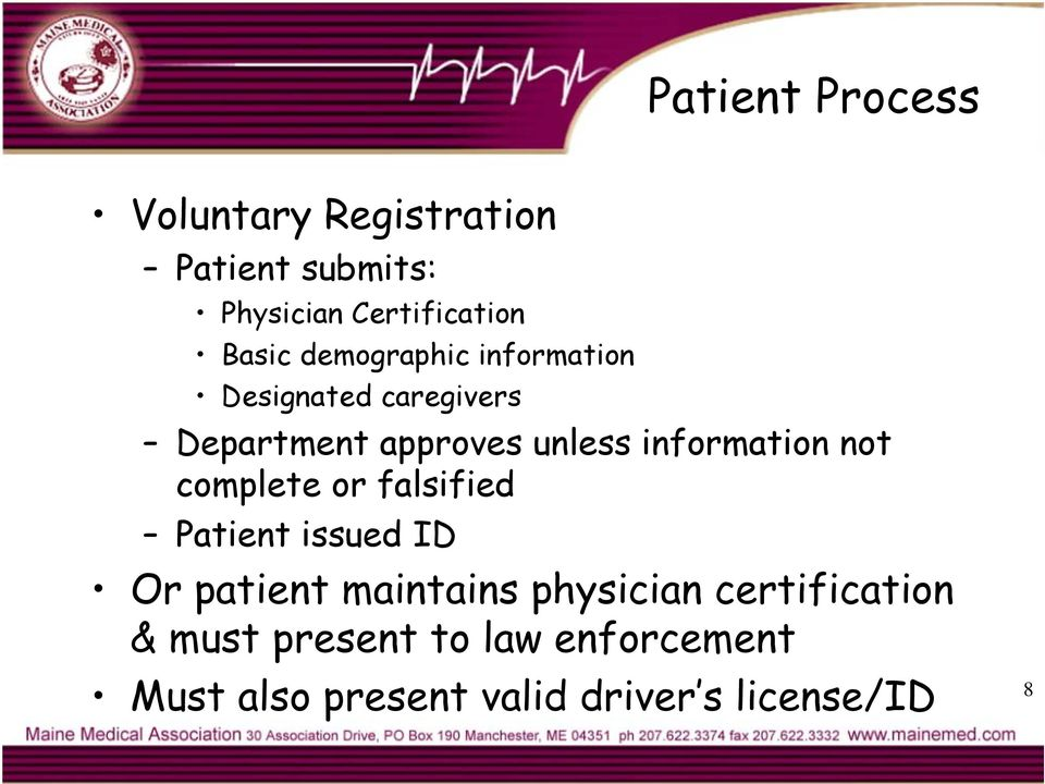 information not complete or falsified Patient issued ID Or patient maintains