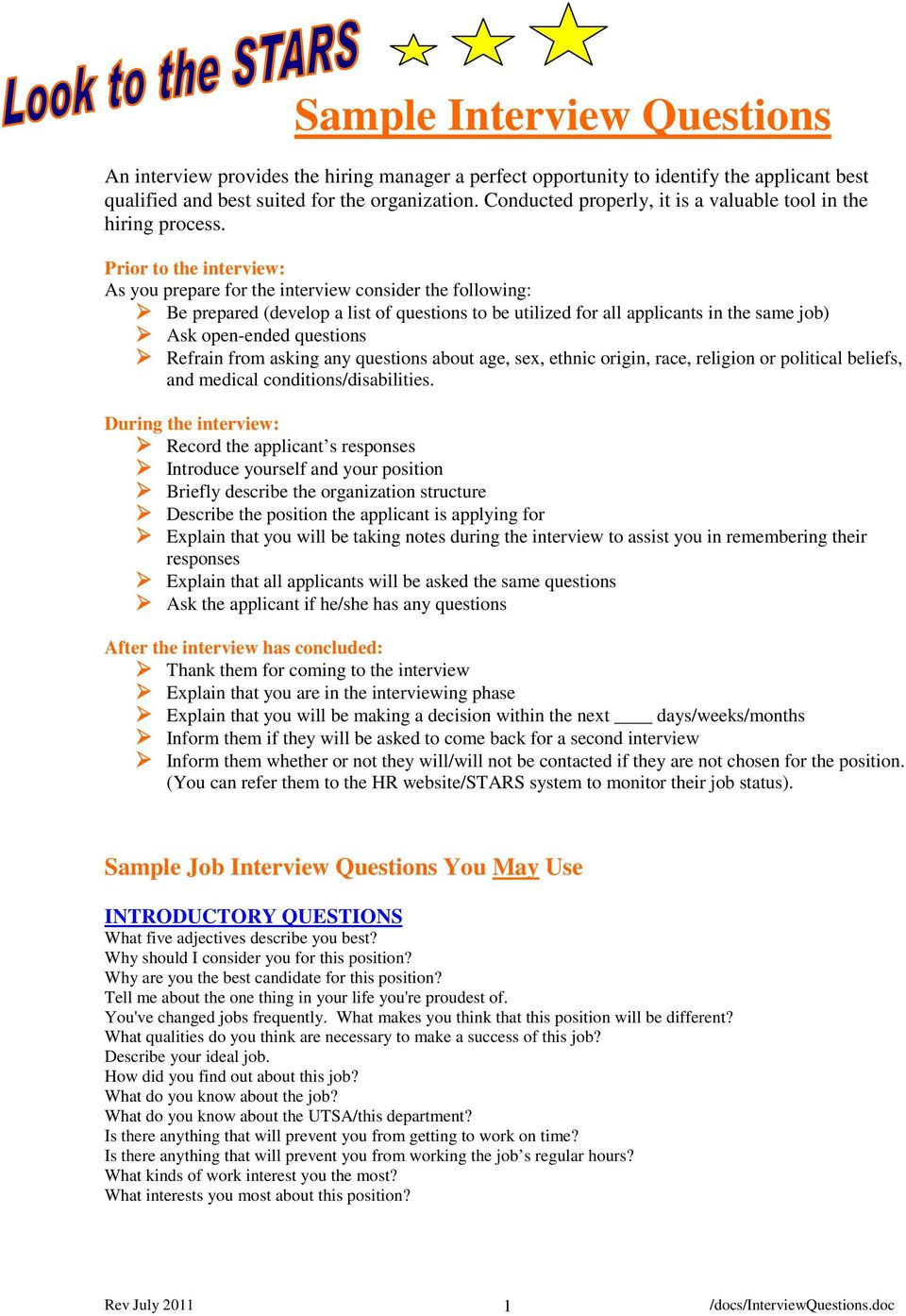 sample interview questions pdf