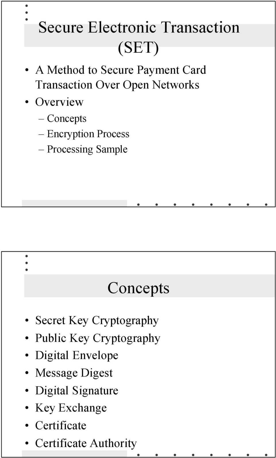 Processing Sample Concepts Secret Key Cryptography Public Key Cryptography