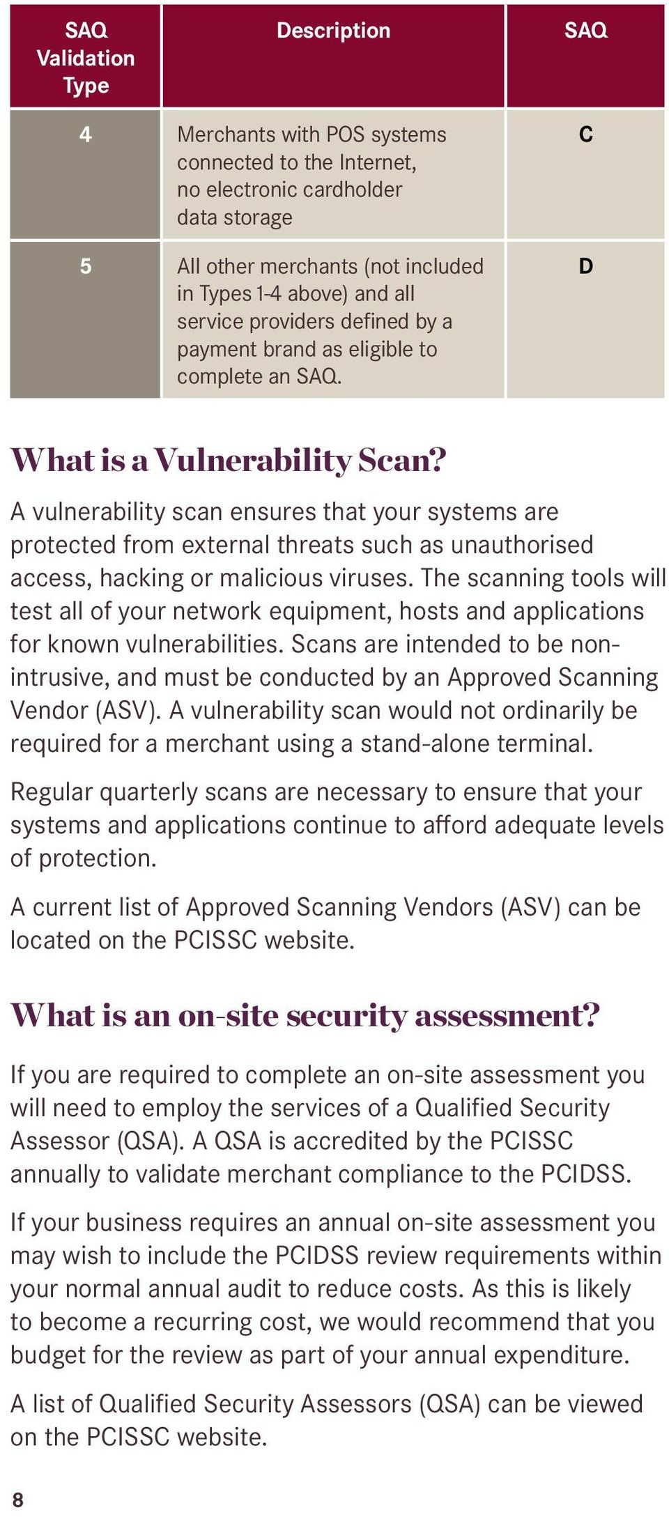 A vulnerability scan ensures that your systems are protected from external threats such as unauthorised access, hacking or malicious viruses.