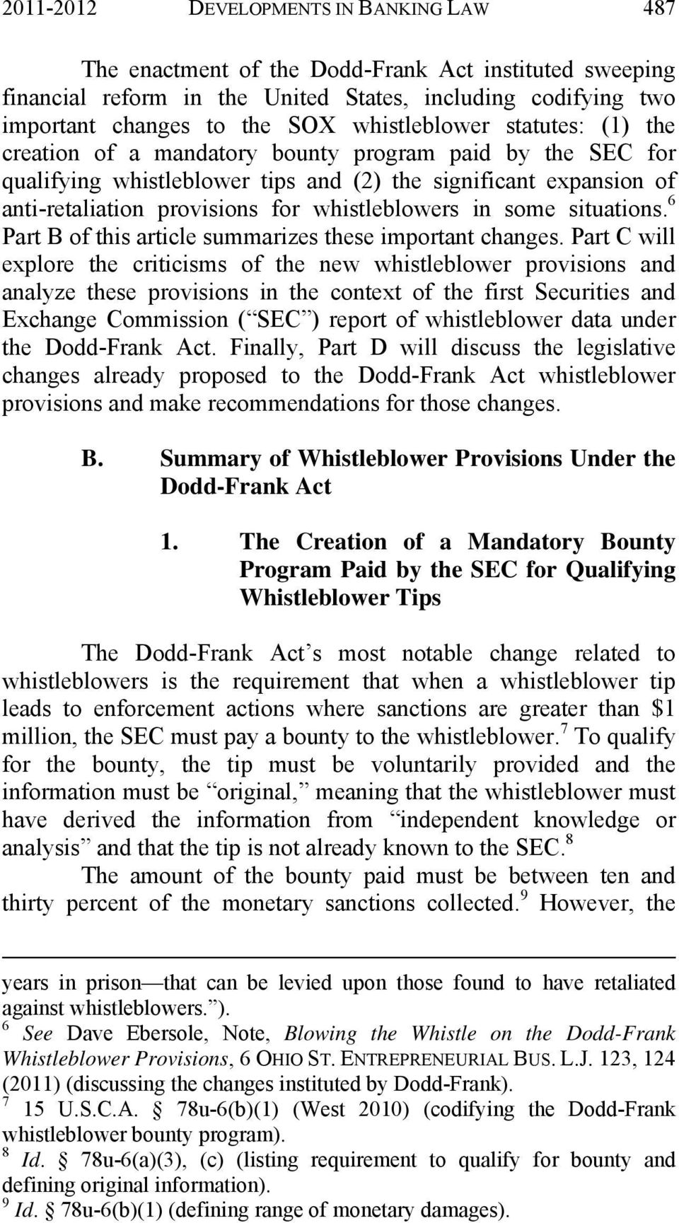 Whistleblower Provisions of the Dodd-Frank Act - PDF